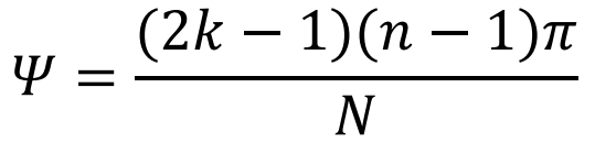 equation used to obtain the phase per a given mode of the butler matrix